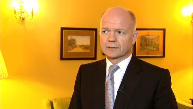 london int william hague mp interview sot - william hague stock-videos und b-roll-filmmaterial