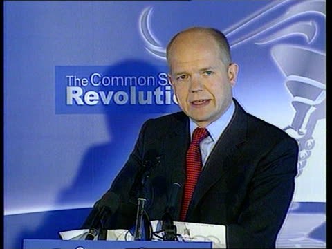 william hague joins norfolk farmer debate; itn england: oxfordshire: witney: int lms william hague standing at podium william hague mp speech sot -... - oxfordshire stock videos & royalty-free footage