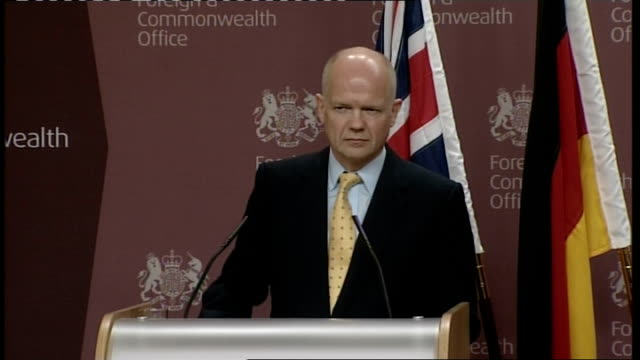 William Hague press conference with German counterpart / cutaways Hague press conference SOT [asked whether he suffered a lapse of judgement in...