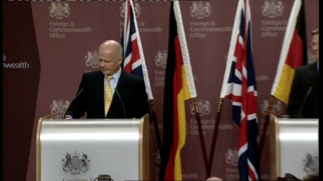William Hague press conference with German counterpart / cutaways Hague press conference SOT [asked about John Redwood's comments about showing poor...