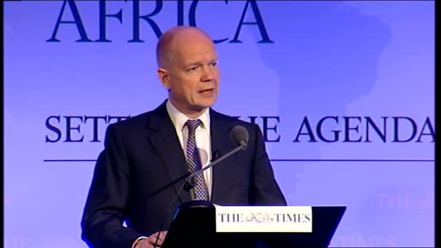 william hague speech at the times ceo summit africa; hague speech sot - uk exports of goods to africa have more than doubled since 2001, and there... - co ordination stock videos & royalty-free footage