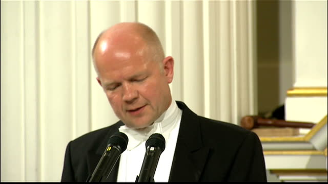 william hague speech to lord mayor of london's easter banquet; william hague speech continued sot - uk needs to adapt its foreign policy to the... - newly industrialized country stock videos & royalty-free footage