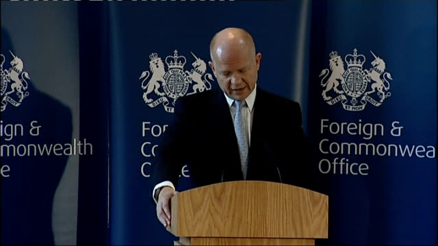william hague speech to the foreign and commonwealth office; hague speech sot - we also saw embassy closures that shrank britains diplomatic network.... - shift key stock videos & royalty-free footage