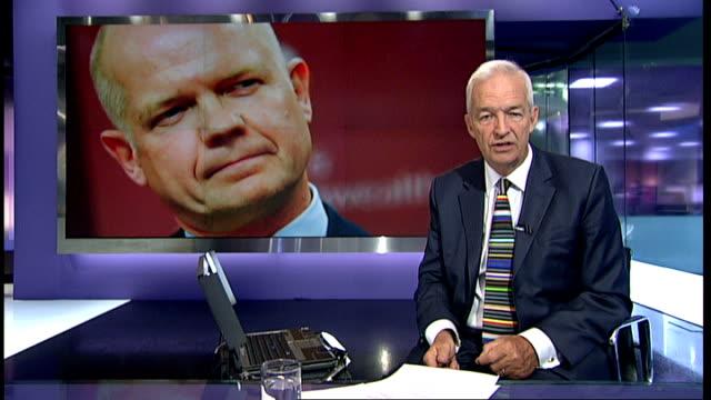 william hague unveils plans to extend the uk's global diplomatic presence england london gir reporter to camera - ギールフォーレスト国立公園点の映像素材/bロール