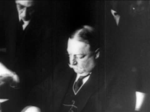 william howard taft sitting + signing documents at desk / educational - only mature men stock videos & royalty-free footage