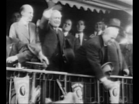 william jennings bryan and others on rear platform of train in salem illinois campaigning for president woodrow wilson's 1916 reelection and shaking... - william jennings bryan stock videos & royalty-free footage