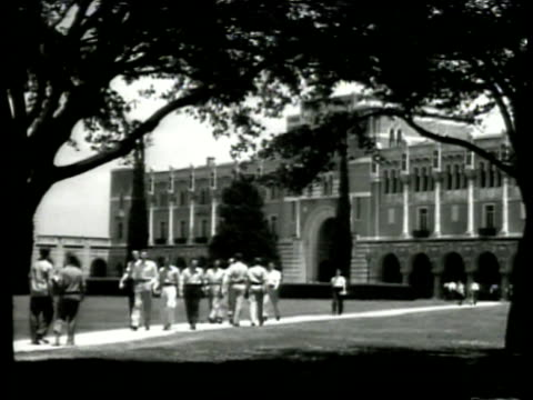 william marsh rice university campus lovett hall students walking ws statue of william m rice students ls cloisters college building students houston... - 1941 stock videos & royalty-free footage