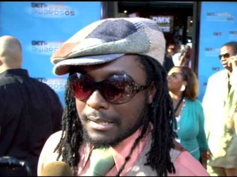 william on the message the black eyed peas are promoting and on the new places in the world they are touring at the 2005 bet awards arrivals at the... - the black eyed peas band stock videos and b-roll footage