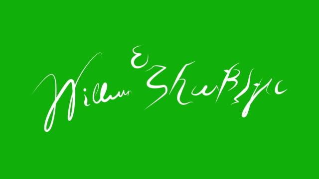 william shakespeare - signature animation on green screen - william shakespeare stock videos & royalty-free footage