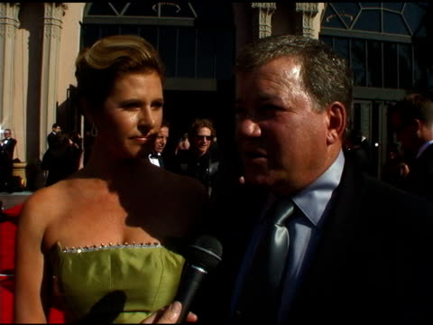 william shatner and elizabeth anderson martin at the 2004 emmy creative arts awards red carpet at the shrine auditorium in los angeles, california on... - william shatner stock videos & royalty-free footage