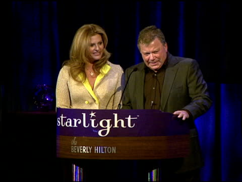 william shatner and elizabeth shatner receiving the heart of gold award at the a stellar night gala presented by starlight starbright children's... - elizabeth shatner stock videos & royalty-free footage