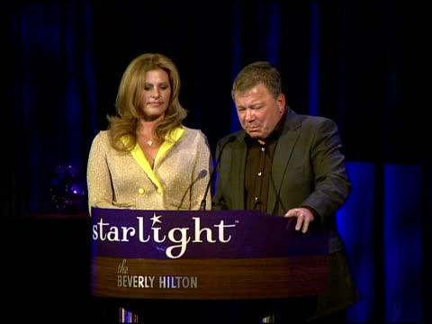 william shatner and elizabeth shatner receiving the heart of gold award at the a stellar night gala presented by starlight starbright children's... - william shatner stock videos & royalty-free footage