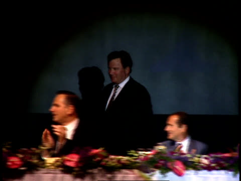 william shatner and patrick stewart sit at the head table of the party. - william shatner stock videos & royalty-free footage