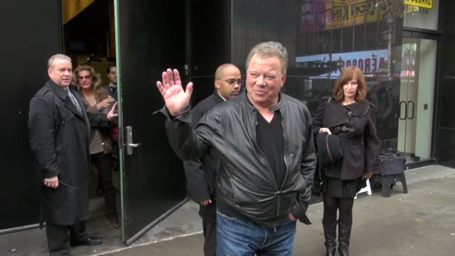 william shatner exits good morning america 02/17/12 in celebrity sightings in new york - william shatner stock videos & royalty-free footage