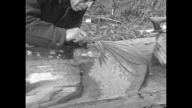 vídeos de stock e filmes b-roll de william shelton, native american of the snohomish tribe, uses metal tools to carve a tree trunk lying on its side; he then carves details of a native... - 18 23 months