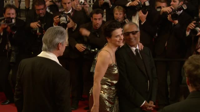 william shimell , juliette binoche and abbas kiarostami at the copie conforme red carpet: cannes film festival 2010 at cannes . - juliette binoche stock videos & royalty-free footage