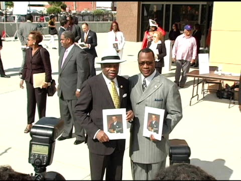 willie brown and tony muhammed at the funeral of johnnie l cochran, jr arrivals at west angeles cathedral in los angeles, california on april 6, 2005. - johnnie cochran stock videos & royalty-free footage