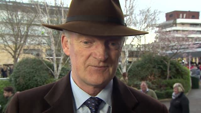 """willie mullins saying it is """"a nice surprise"""" to finally get his hands on the cheltenham gold cup - cheltenham stock videos & royalty-free footage"""