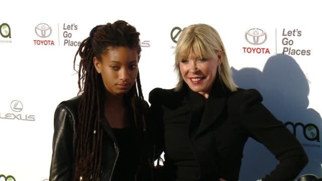 willow smith and debbie levin at the 27th annual environmental media association awards at barker hangar on september 23 2017 in santa monica... - バーカーハンガー点の映像素材/bロール