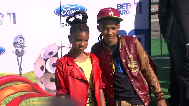 willow smith and jaden smith at the 2011 bet awards at los angeles ca - jaden smith stock videos & royalty-free footage