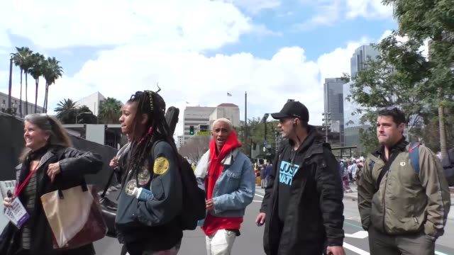 Willow Smith and Jaden Smith at the March For Our Lives in downtown Los Angeles at Celebrity Sightings in Los Angeles on March 24 2018 in Los Angeles...
