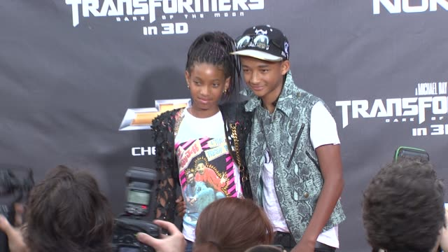 willow smith and jaden smith at the 'transformers dark side of the moon' new york premiere at new york ny - jaden smith stock videos & royalty-free footage