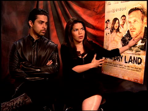 wilmer valderrama and america ferrera on why america wanted to produce this film. at the 'the dry land' junket at los angeles ca. - wilmer valderrama stock videos & royalty-free footage