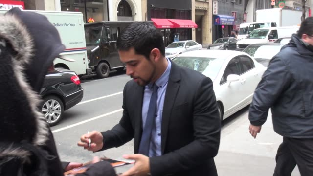 wilmer valderrama arrives at the today show in rockefeller center & poses with and signs for fans in celebrity sightings in new york, - wilmer valderrama stock videos & royalty-free footage