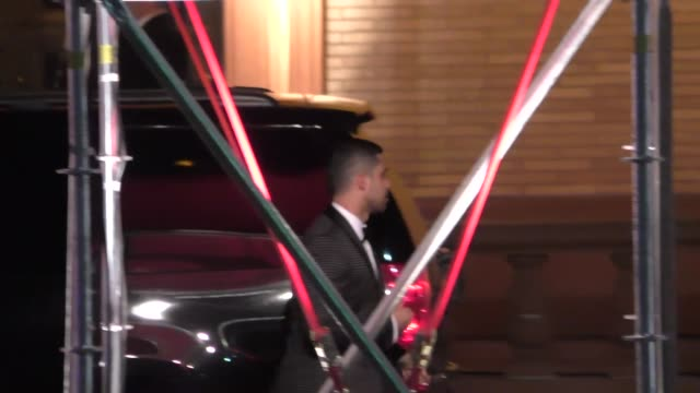 wilmer valderrama demi lovato arrive to the vanity fair oscar award party at wallis annenberg center in beverly hills in celebrity sightings in los... - wilmer valderrama stock videos & royalty-free footage