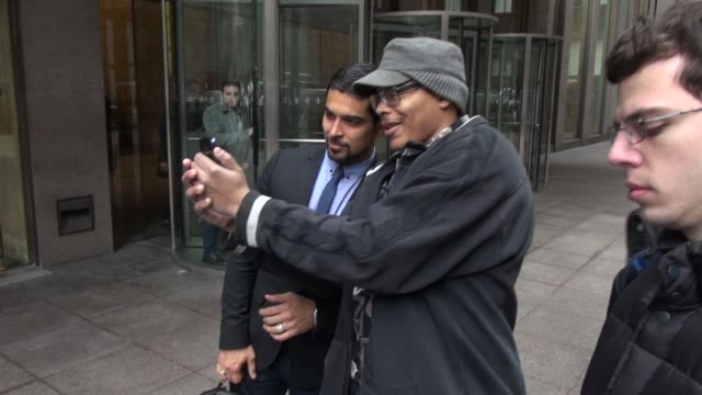 wilmer valderrama signs for & poses with fans outside of siriusxm satellite radio as he leaves in celebrity sightings in new york, - wilmer valderrama stock videos & royalty-free footage