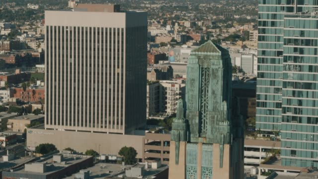 wilshire building drone shot - wilshire boulevard stock videos & royalty-free footage