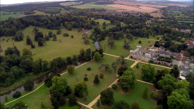 wilton house  - aerial view - england, united kingdom - 18th century stock videos and b-roll footage