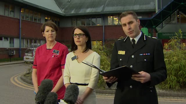 wiltshire police chief constable kier pritchard reading out a statement by sergeant nick bailey after his discharge from hospital following... - police statement stock videos & royalty-free footage