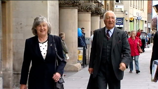 trowbridge: family of colonel thorneloe along to inquest including his parents and his widow sally thorneloe - イングランド南西部点の映像素材/bロール