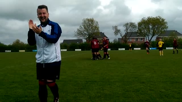 wim dijkman is an amateur soccer player in the netherlands. during a recent game between his team roodzwart baflo and opponents stedum, he scored a... - アマチュア選手点の映像素材/bロール