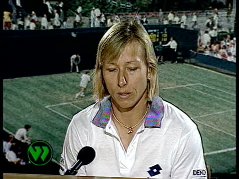 wimbledon 1992; int cms martina navratilova intvwd sof - seles says she doesn't grunt on purpose but in practice she doesn't make that noise - international tennis federation stock videos & royalty-free footage