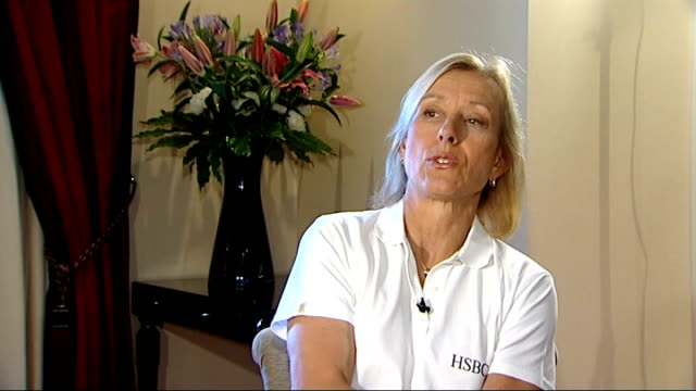 martina navratalova interview; q: mens finals, has roddick got waht it takes a: he has to believe that he doe / he has serve to bother eveybody /... - international tennis federation stock videos & royalty-free footage