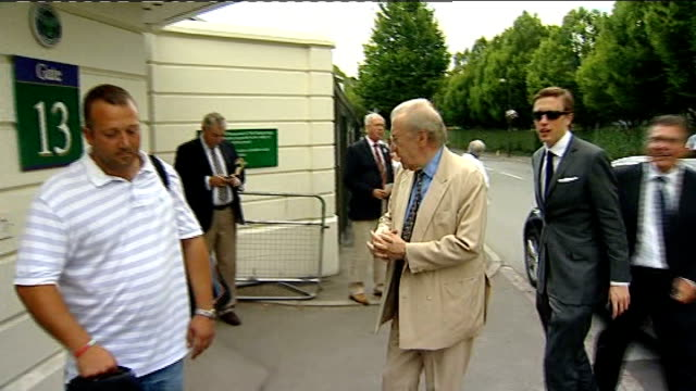 build up to andy murray semifinal sir david frost from car at entrance to wimbledon and catherine jenkins arriving for wimbledon semifinal between... - david frost broadcaster stock videos and b-roll footage