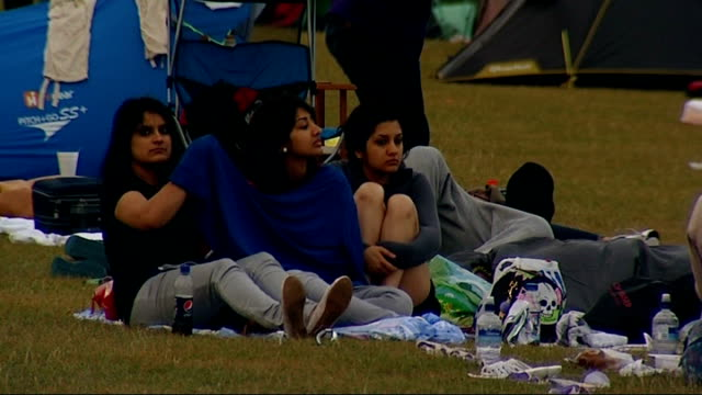 fans camping out overnight for tickets england london wimbledon ext general views of tents as people queue for wimbledon tickets / person lying in... - blanket background stock videos & royalty-free footage