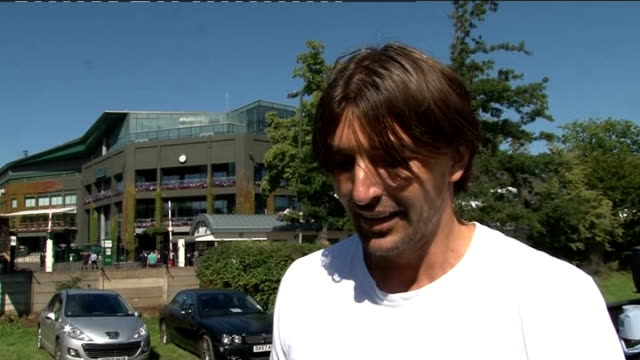 day nine Men's quarterfinals day various arrivals at All England Club ENGLAND London Wimbledon All England Club EXT Goran Ivanisevic interview SOT On...