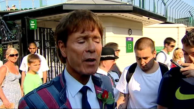 andy murray becomes first british man to win the singles title for 77 years england london wimbledon ext fans singing 'come on andy murray' sot sir... - cliff richard stock videos and b-roll footage