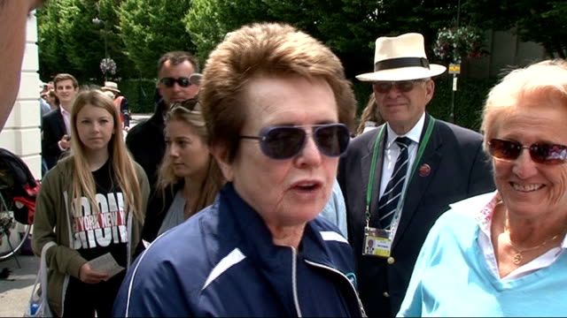 first round laura robson wins billie jean king interview sot i saw her when she was a junior and said she would be really good she's doing great - billie jean king stock videos & royalty-free footage
