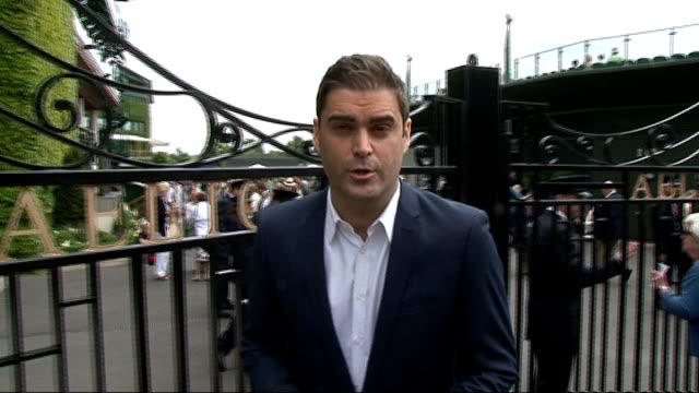 first round laura robson wins england london wimbledon ext low angle shot of crowds entering the all england lawn tennis club to attend the wimbledon... - billie jean king stock videos & royalty-free footage