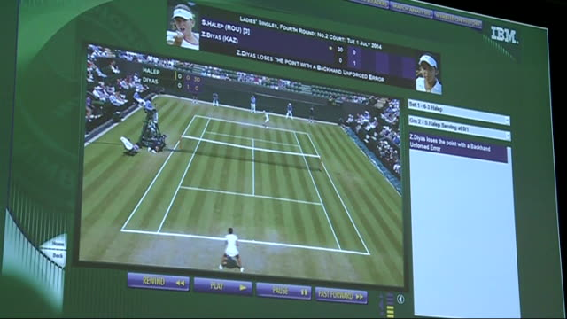 ibm technology used int seddon interview sot close shot screen showing stats of ladies singles match / play button pressed on screen and video file... - court room点の映像素材/bロール