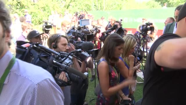 Andre Agassi interview ENGLAND London Wimbledon EXT Andre Agassi speaking to press and interview re Andy Murray and Novak Djokovic SOT