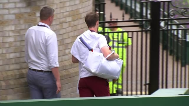 johanna konta loses quarterfinal / andy murray and serena williams through to mixed doubles third round england london wimbledon ext andy murray... - quarterfinal round stock videos & royalty-free footage