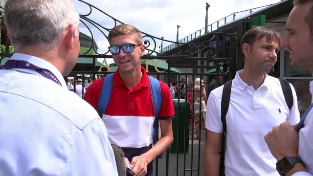 Men's semifinal roundup ENGLAND London Wimbledon All England Lawn Tennis Club EXT Blas Gallejo interview with reporter inshot SOT