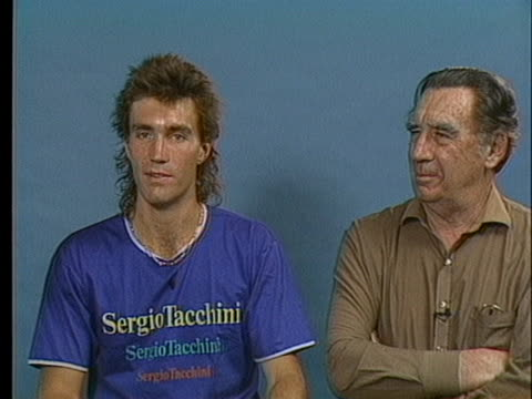wimbledon champion pat cash, jr. sits with his father pat cash and talks about his nervousness prior to the tennis match. - sport stock videos & royalty-free footage