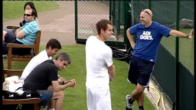 Wimbledon Championships begin Andy Murray along during training Judy Murray set up shot / interview SOT