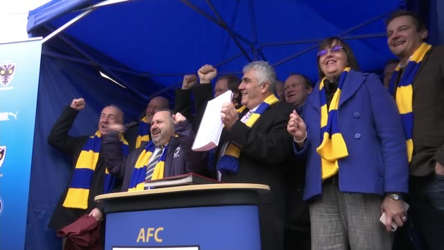 AFC Wimbledon givern permission to build new stadium at Plough Lane ENGLAND London Merton EXT Cllr Stephen Alambritis and Wimbledon AFC supporters...